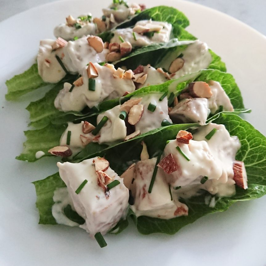 Simple Chicken Salad with Almonds in Lettuce Cups